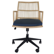 Load image into Gallery viewer, Eye-Catching Deep Blue Office Chair of Fabric & Rattan