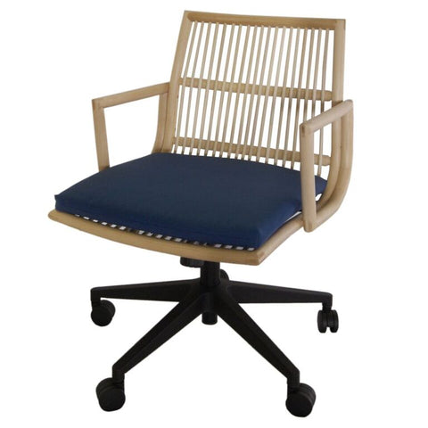 Eye-Catching Deep Blue Office Chair of Fabric & Rattan