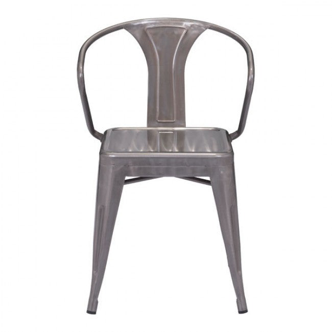 Industrial Galvanized Steel Guest or Conference Chair (Set of 2)
