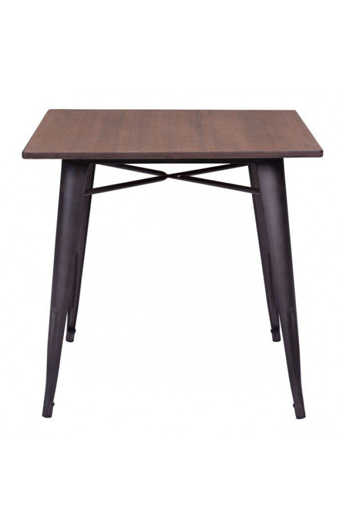 Square Desk or Meeting Table with Steel Frame & Rustic Bamboo Top