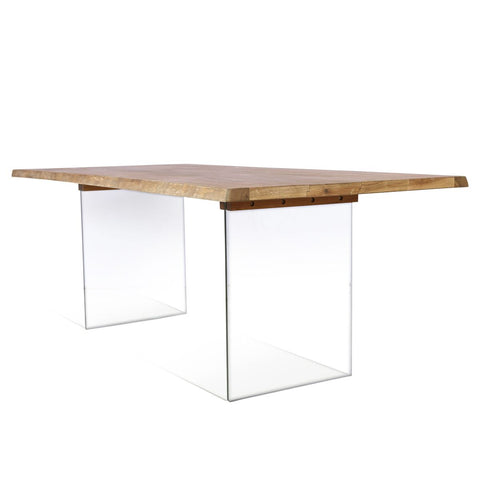 "79"" Executive Office Desk or Conference Table of Oak & Glass"