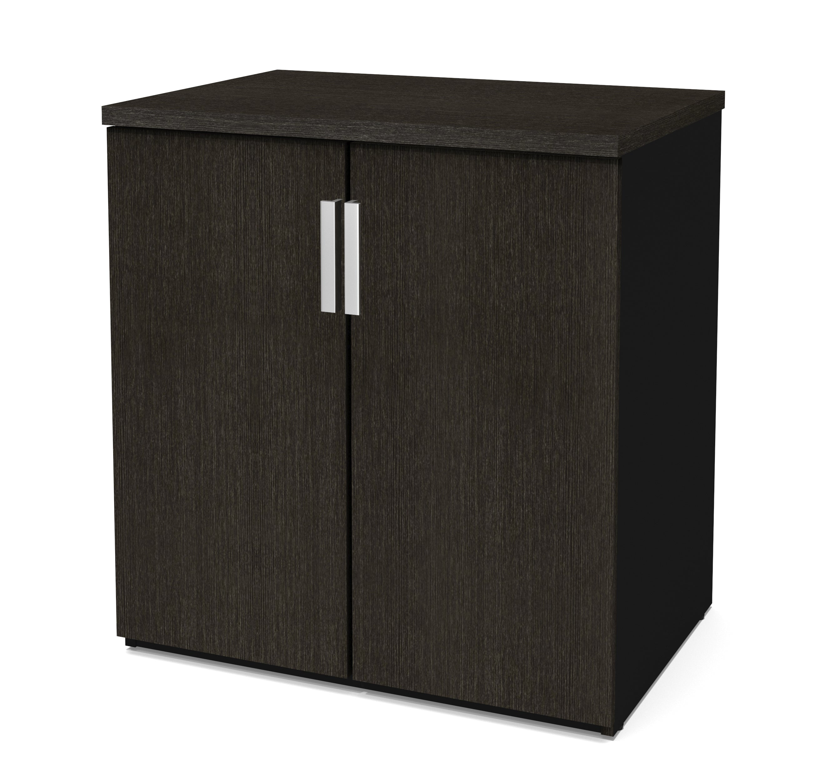 "Elegant Deep Gray & Black 30"" Storage Cabinet with Dual Shelves"