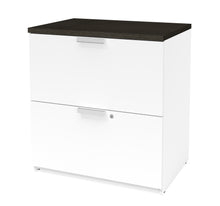 Load image into Gallery viewer, Modern L-shaped Desk & Hutch with Glass Doors, with Height Adjustable Side
