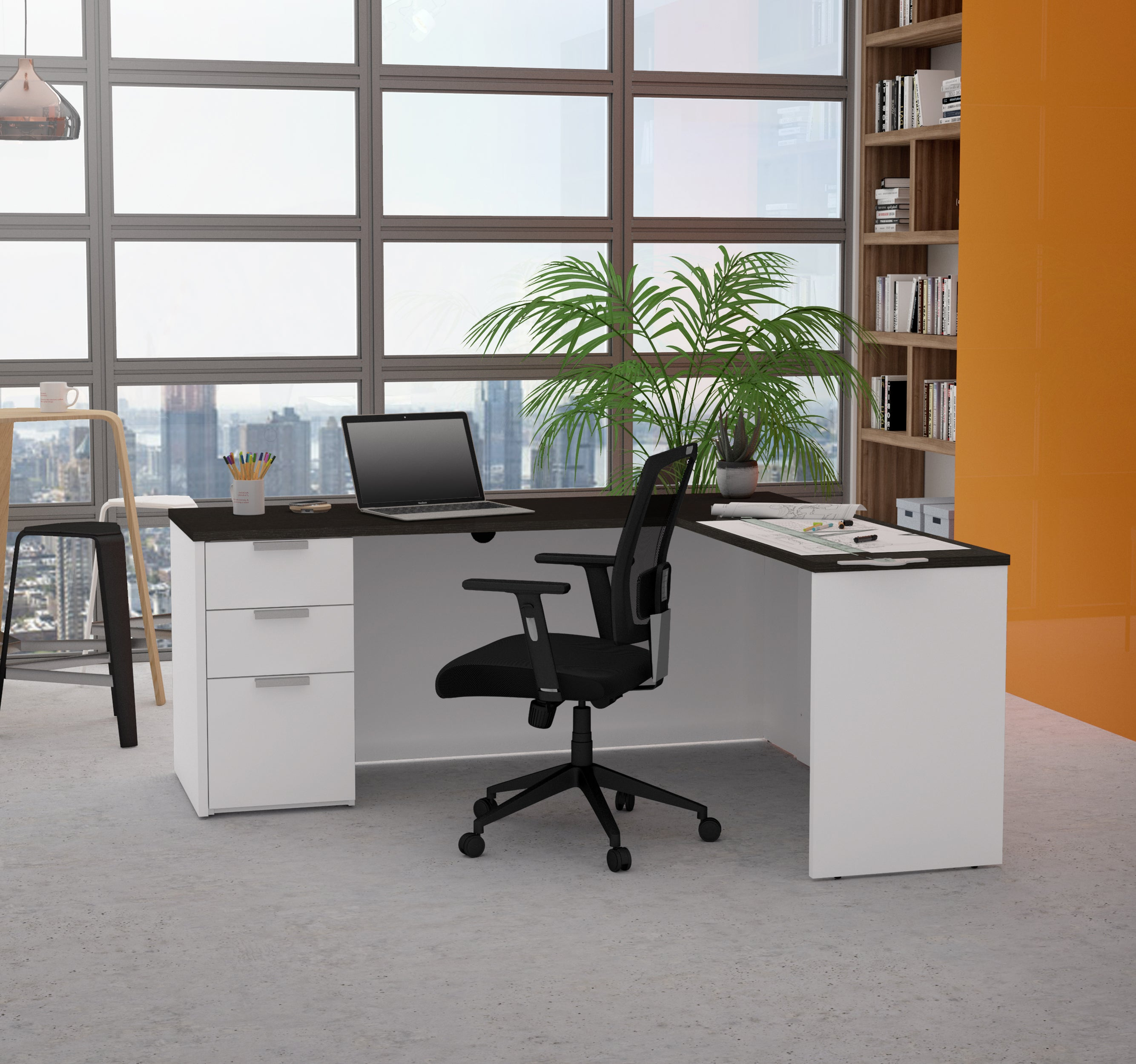 "71"" x 62"" Modern L-shaped Desk in White & Deep Gray"