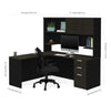 Deep Gray & Black Single Pedestal L-shaped Desk and Hutch