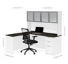 Modern L-Shaped Desk & Hutch with Frosted Glass Doors in White / Deep Gray