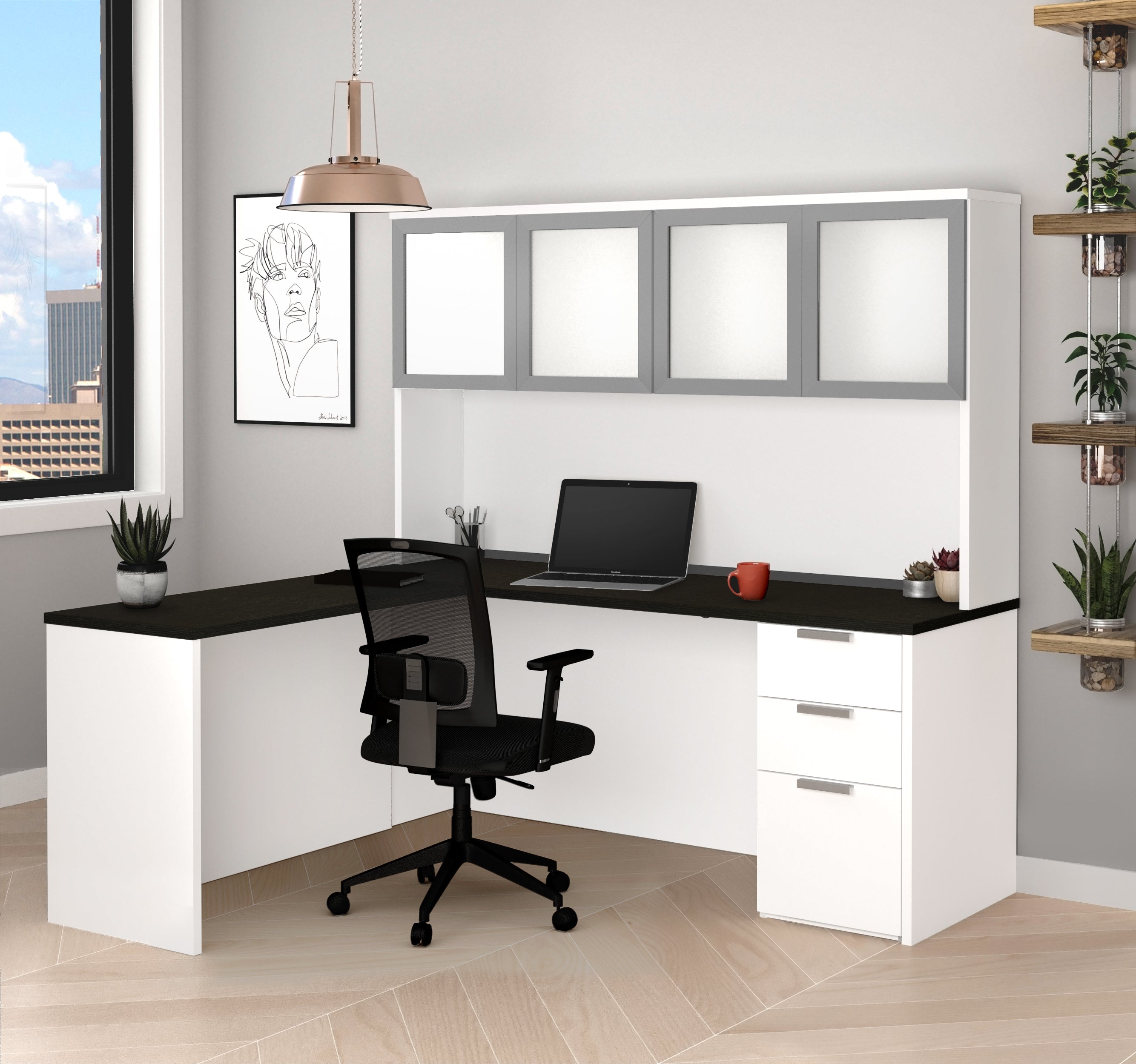 Modern L Shaped Desk U0026 Hutch With Frosted Glass Doors In White / Deep Gray