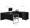Modern U-shaped Single Pedestal Desk in Deep Gray & Black Finish