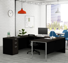 Load image into Gallery viewer, Modern U-shaped Single Pedestal Desk in Deep Gray & Black Finish