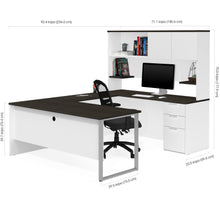 Load image into Gallery viewer, U-shaped Office Desk with Hutch in White & Deep Gray