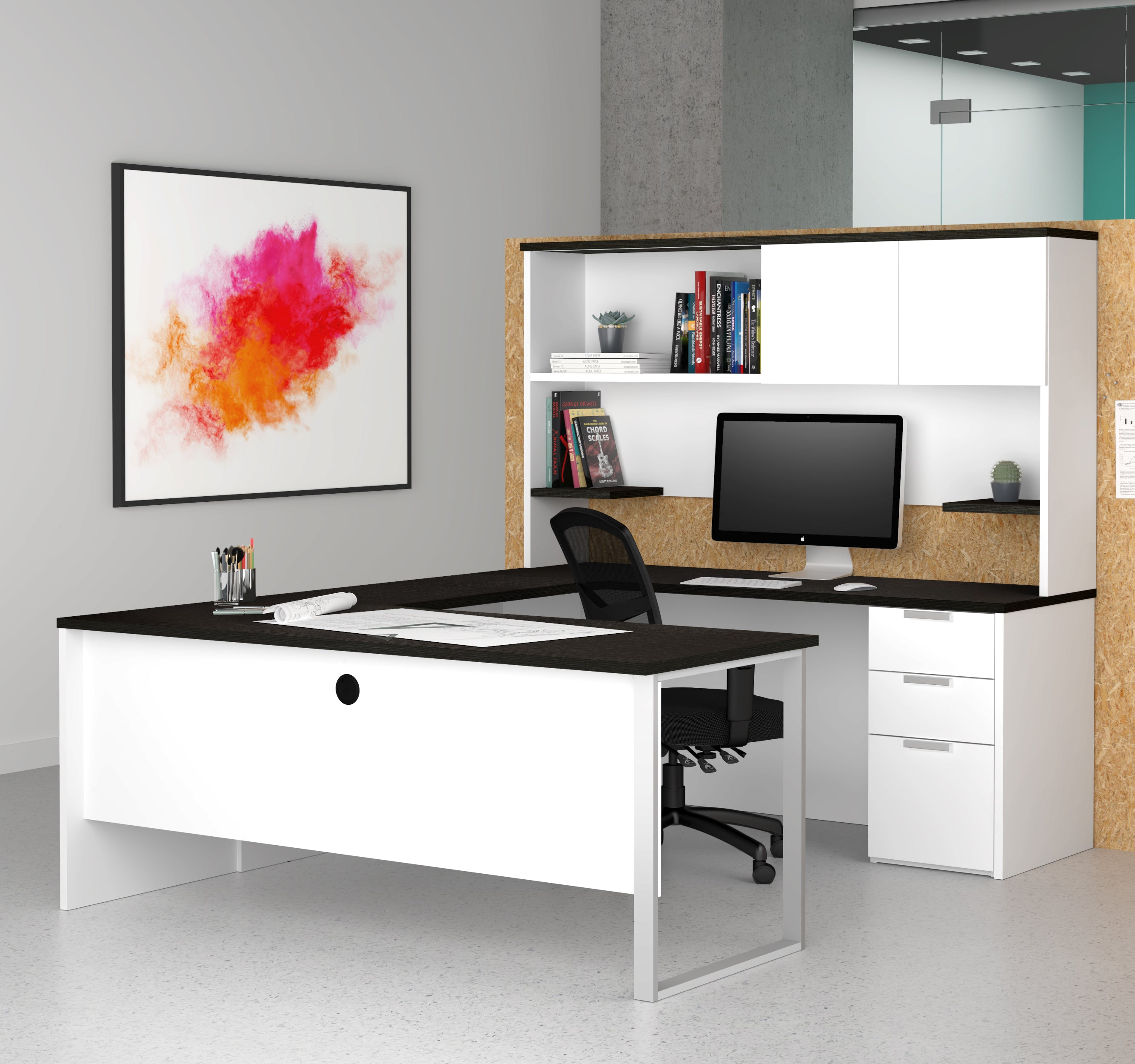 U-shaped Office Desk with Hutch in White & Deep Gray