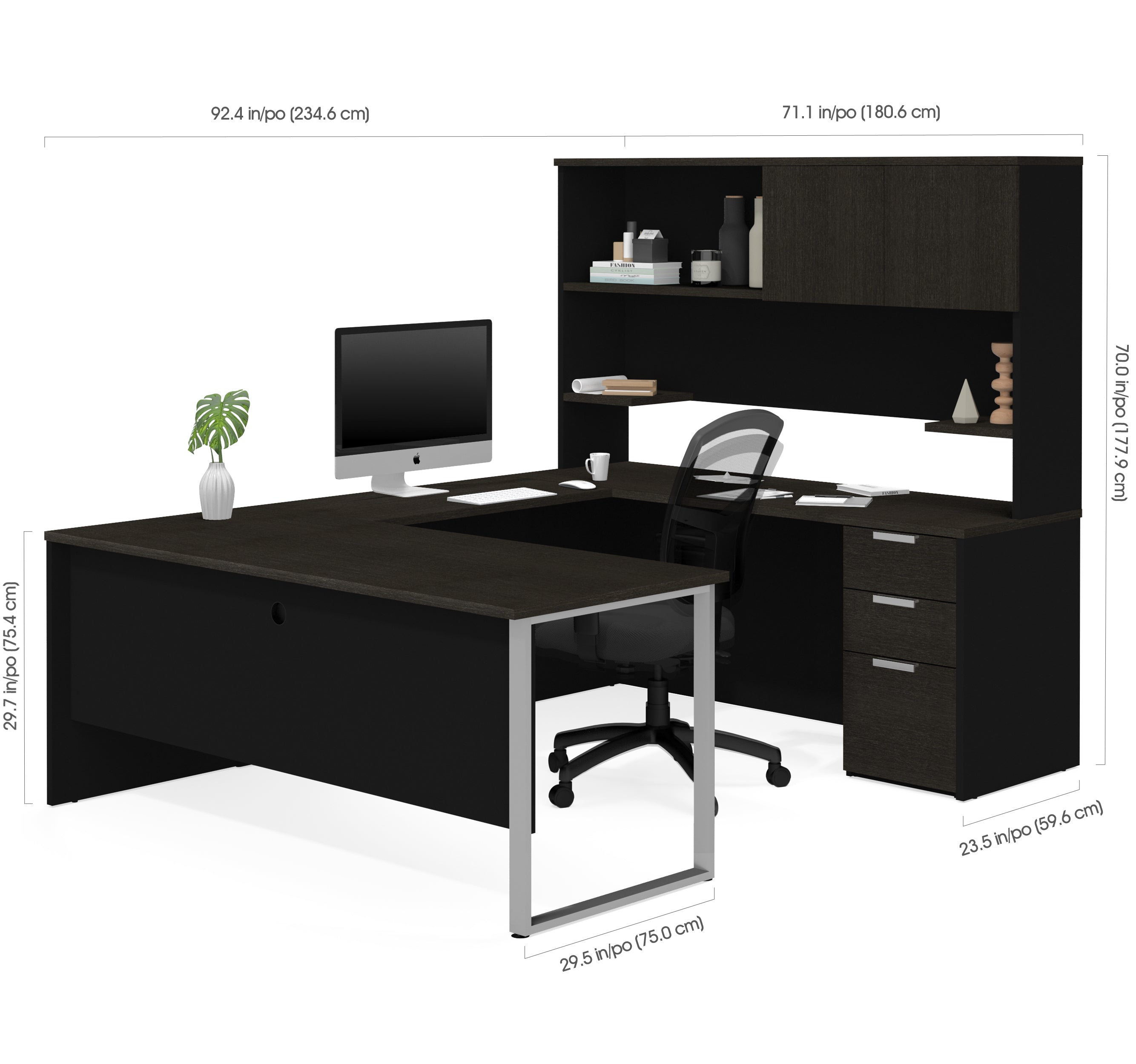 U Shaped Office Desk With Hutch In Deep Gray Amp Black