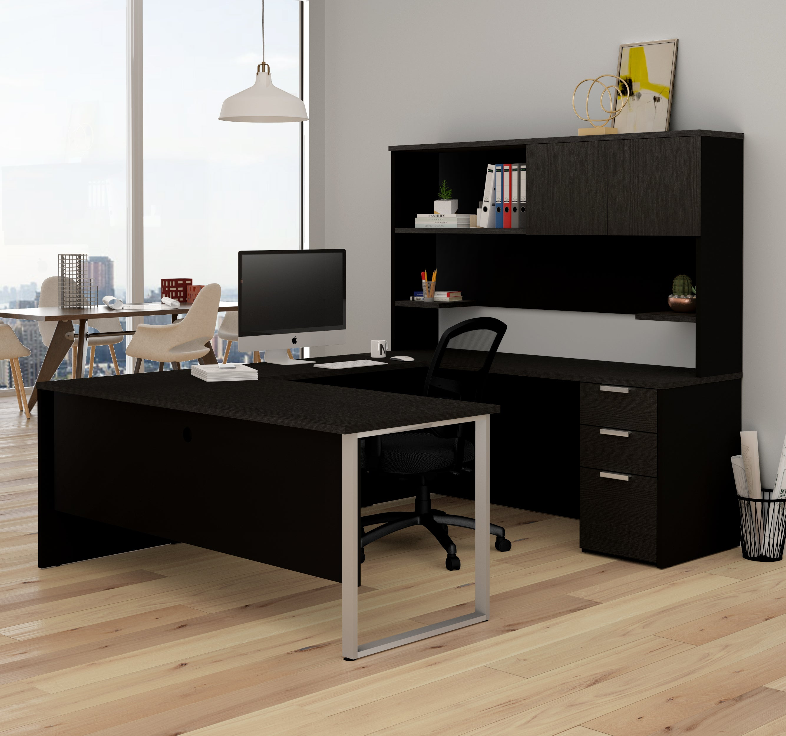 U-shaped Office Desk with Hutch in Deep Gray & Black