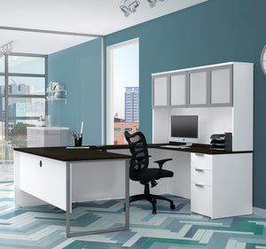 Ultra Modern White & Deep Gray U-shaped Desk with Hutch