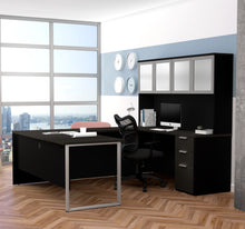 Load image into Gallery viewer, Deep Gray & Black Contemporary U-shaped Desk with Hutch