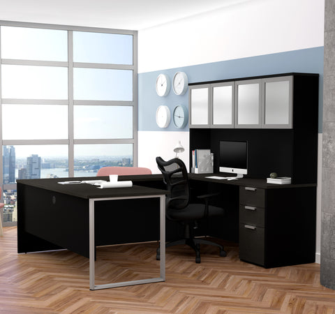 Deep Gray & Black Contemporary U-shaped Desk with Hutch