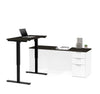 Deep Gray & White Modern L-shaped Desk with Height Adjustable Side