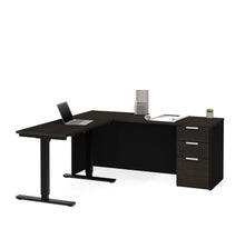 Load image into Gallery viewer, Modern L-shaped Desk in Deep Gray & Black with Height Adjustable Side