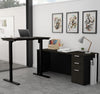 Modern L-shaped Desk in Deep Gray & Black with Height Adjustable Side