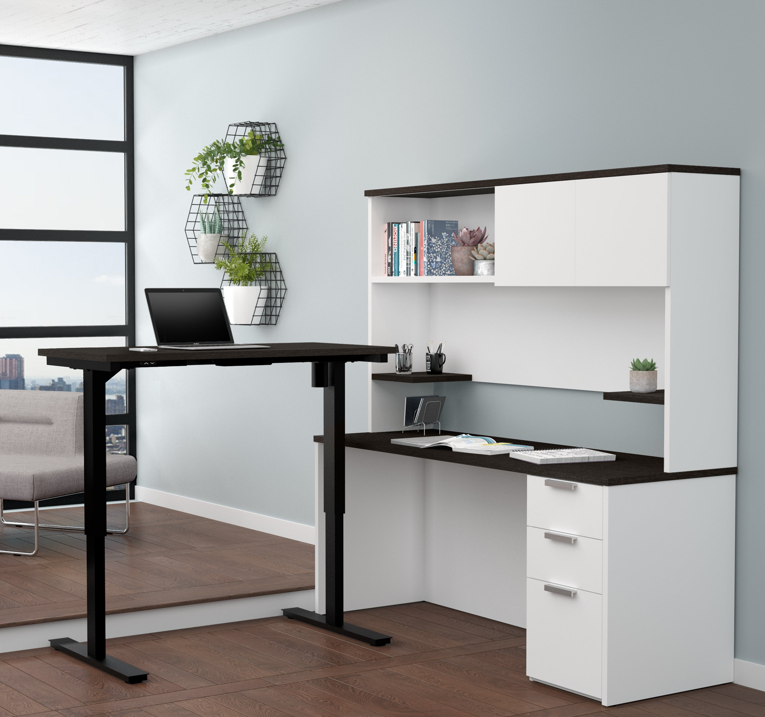 L-shaped Desk & Hutch with Height Adjustable Side, in White & Deep Gray