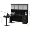Modern L-shaped Desk & Hutch with Glass Doors, with Height Adjustable Side