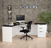 "71"" x 71"" Modern Corner Single Pedestal Desk in White & Deep Gray"