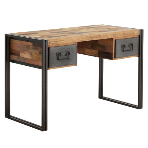 Eye-Catching Mixed Recycled Hardwood Office Desk w/ 2 Drawers