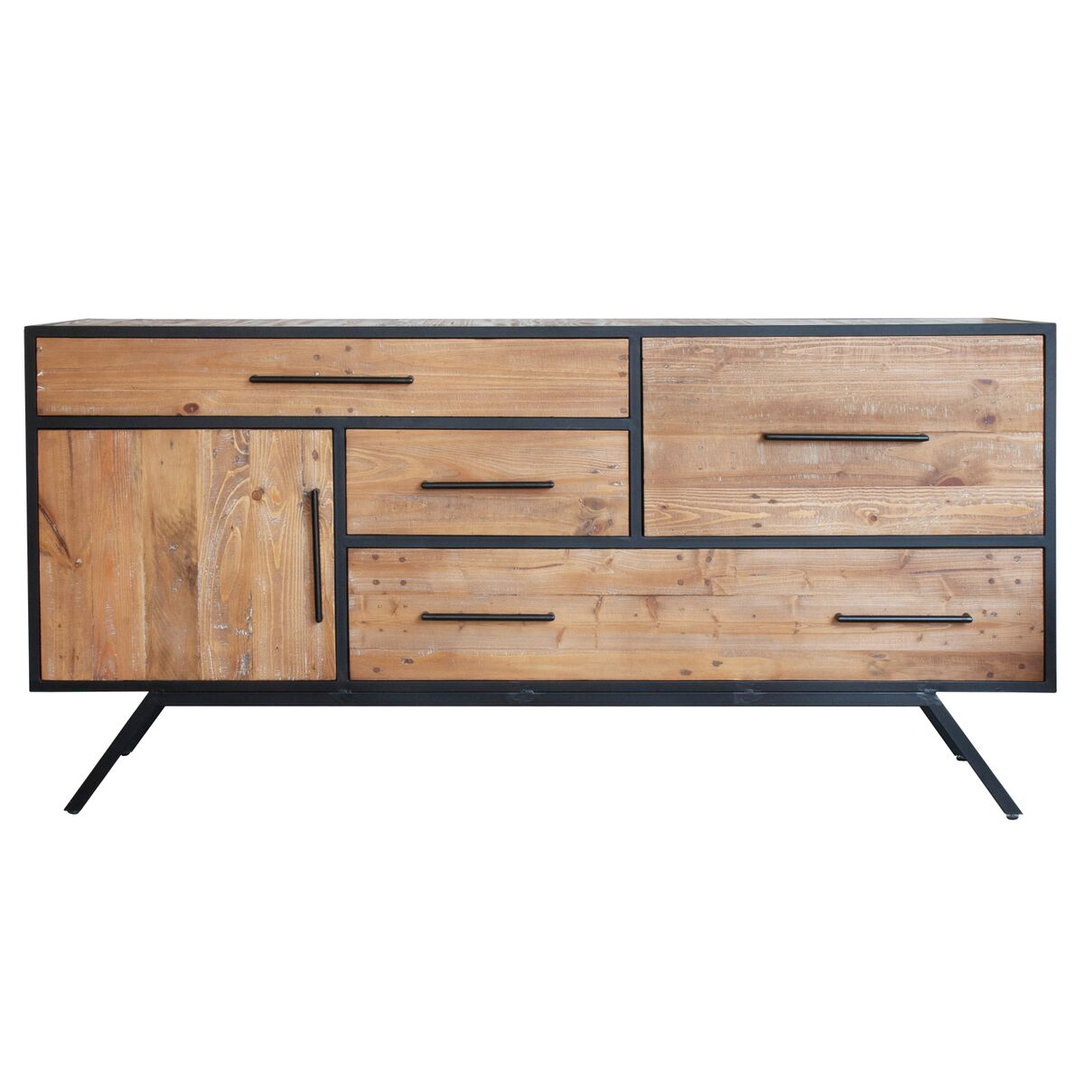 Sophisticated Storage Credenza of Black Steel and Reclaimed Pine