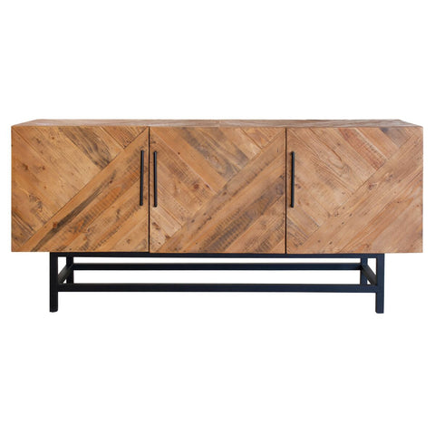 Modern Storage Credenza of Reclaimed Pine & Painted Steel