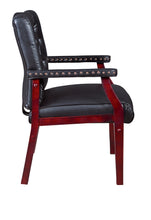 Load image into Gallery viewer, Black Vinyl and Mahogany Conference / Guest Chair