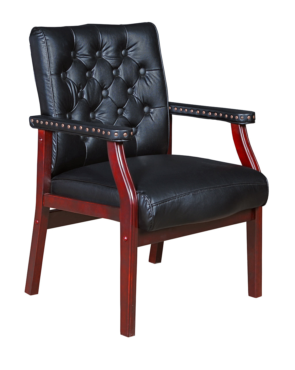 Black Vinyl and Mahogany Conference / Guest Chair