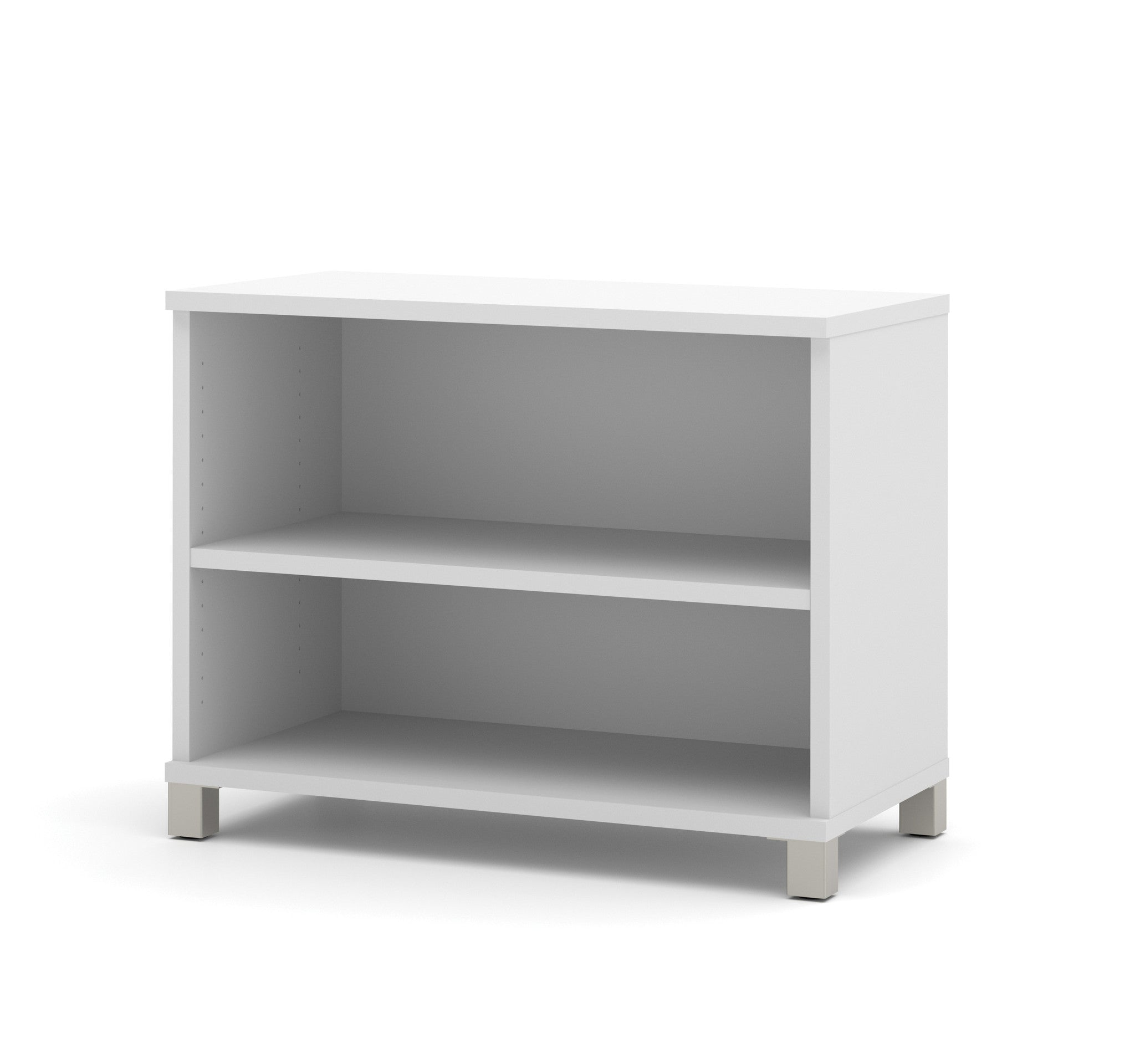 Modern White Two-Shelf Bookcase from Bestar