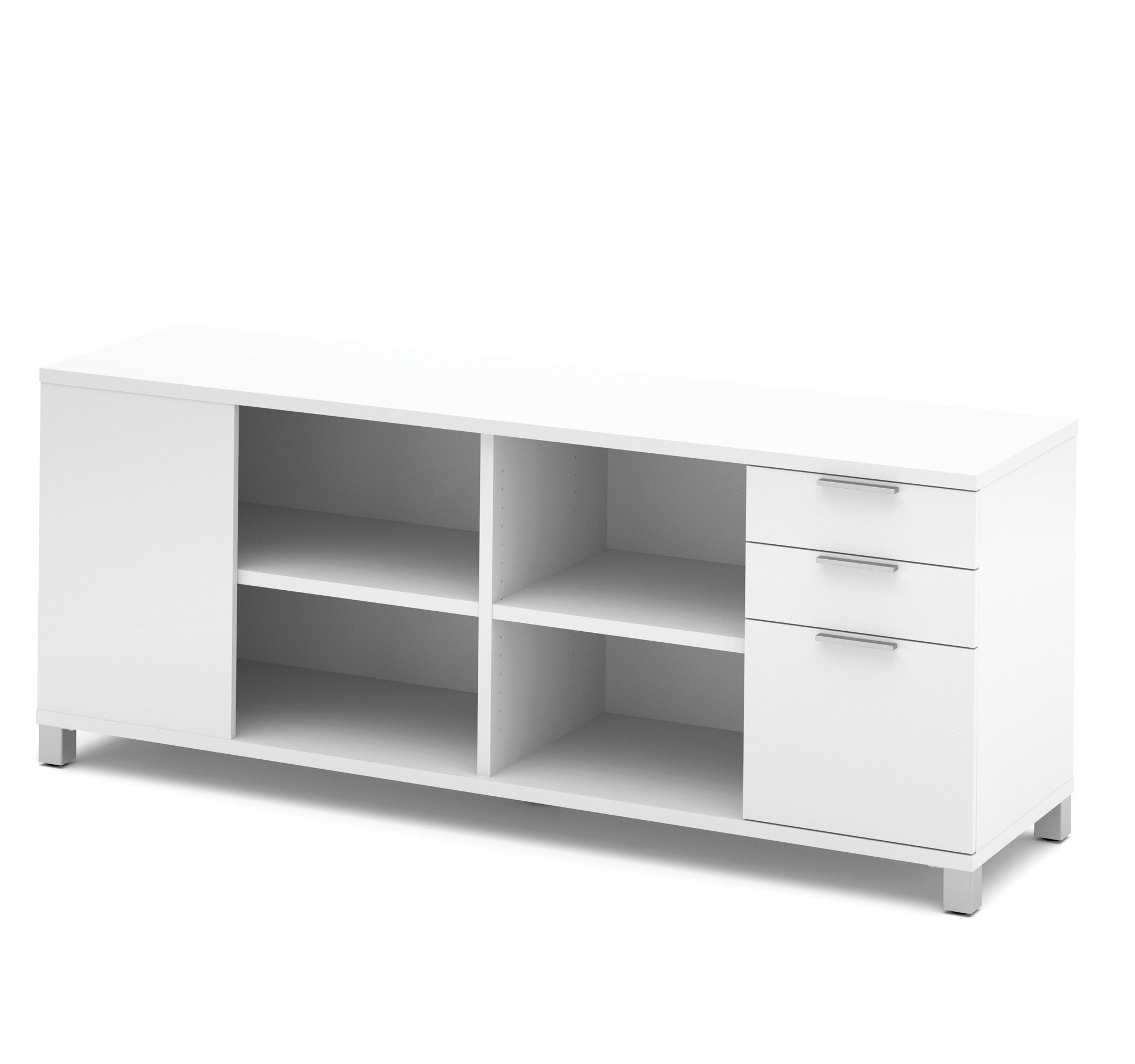 Modern White Credenza with Full Pedestal & Shelving