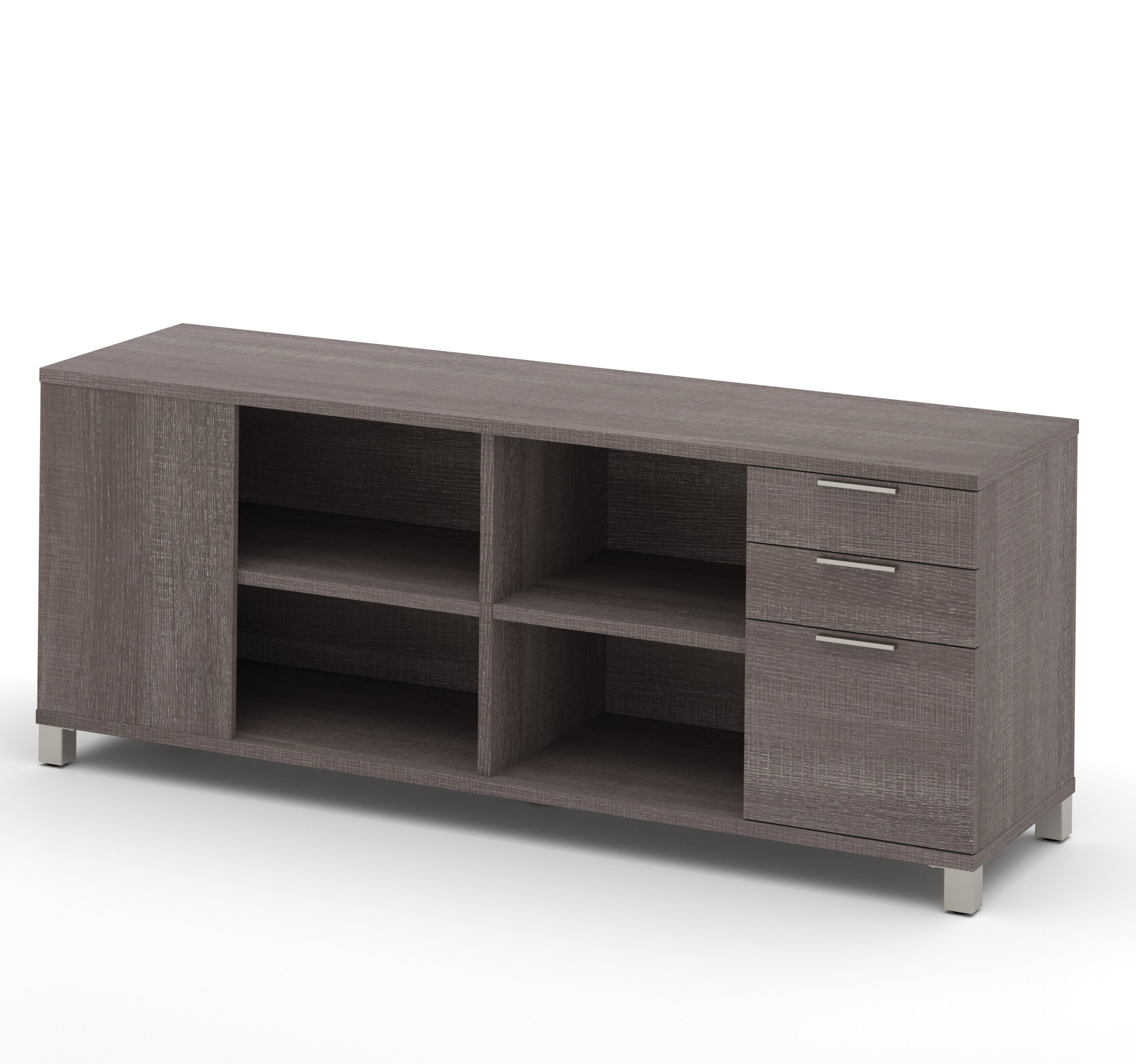Modern Grey Credenza with Full Pedestal & Shelving