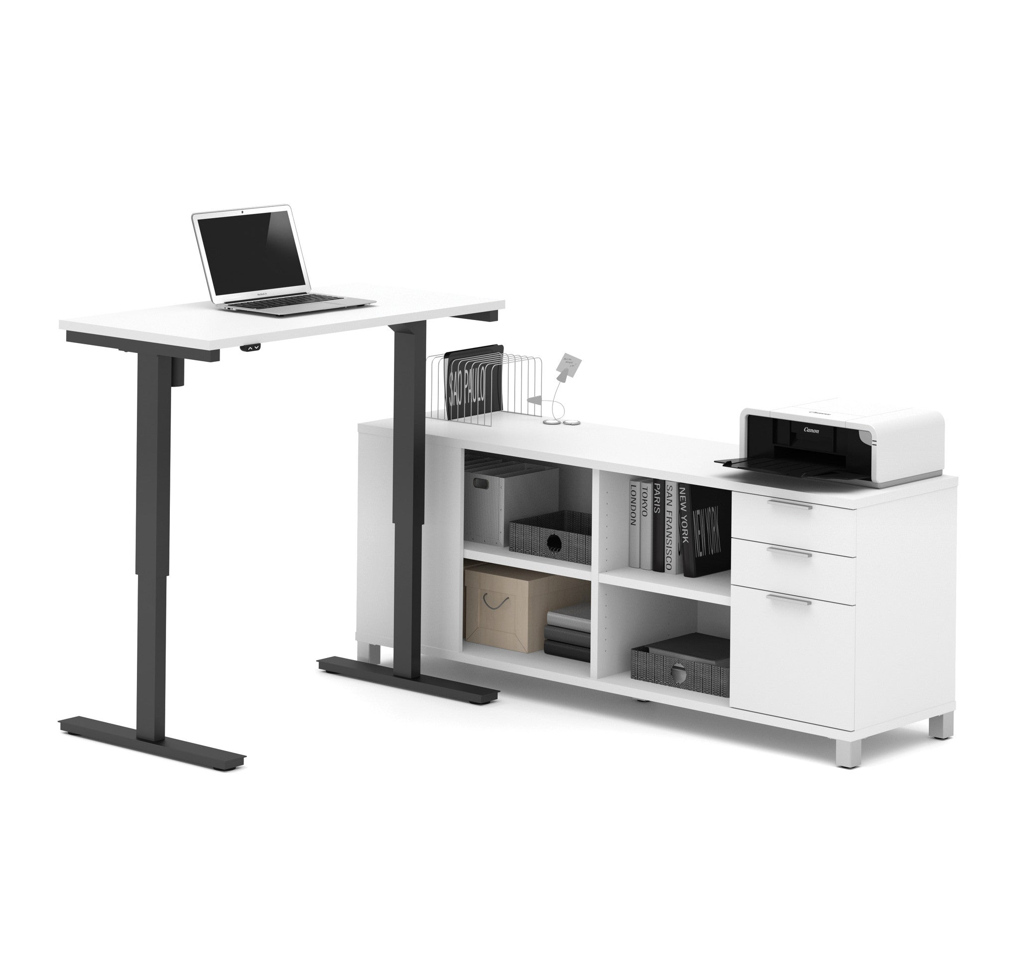 "Premium Standing Desk (Adjusts from 28-45"" H) with Credenza in White"