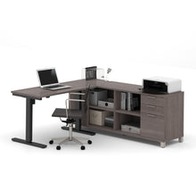 "Load image into Gallery viewer, Premium Standing Desk (Adjusts from 28-45"" H) with Credenza in Bark Gray"