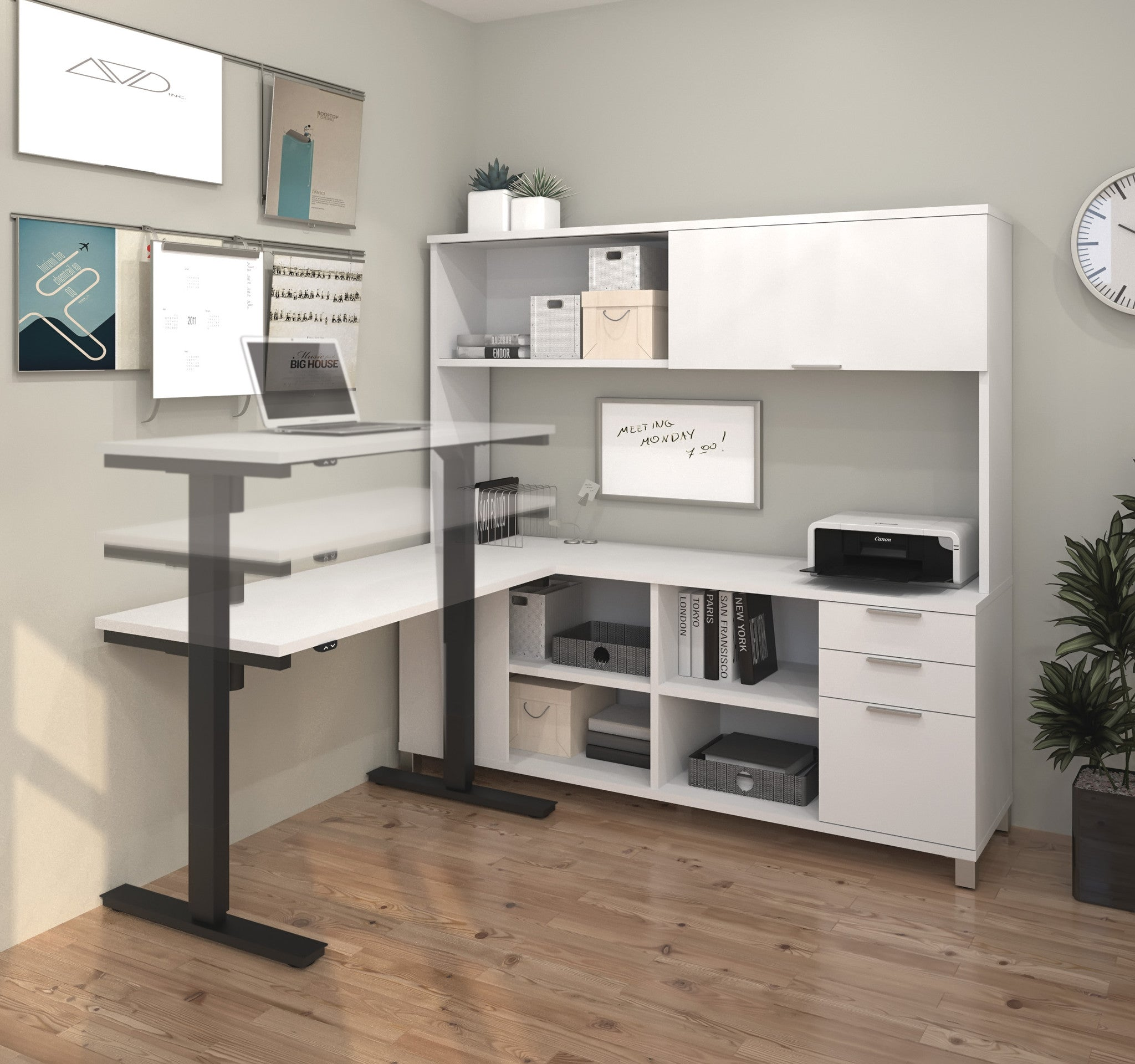 Premium Sit Stand Desk With Credenza Amp Hutch In White