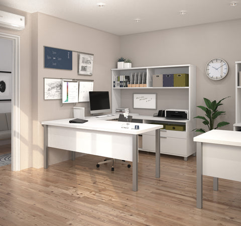 Premium Modern U-shaped Desk with Hutch in White