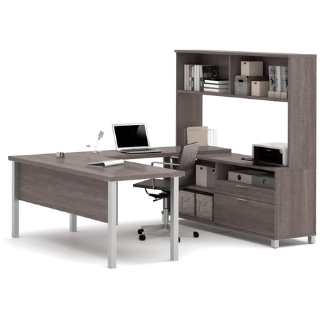 Premium Modern U-shaped Desk with Hutch in Bark Gray