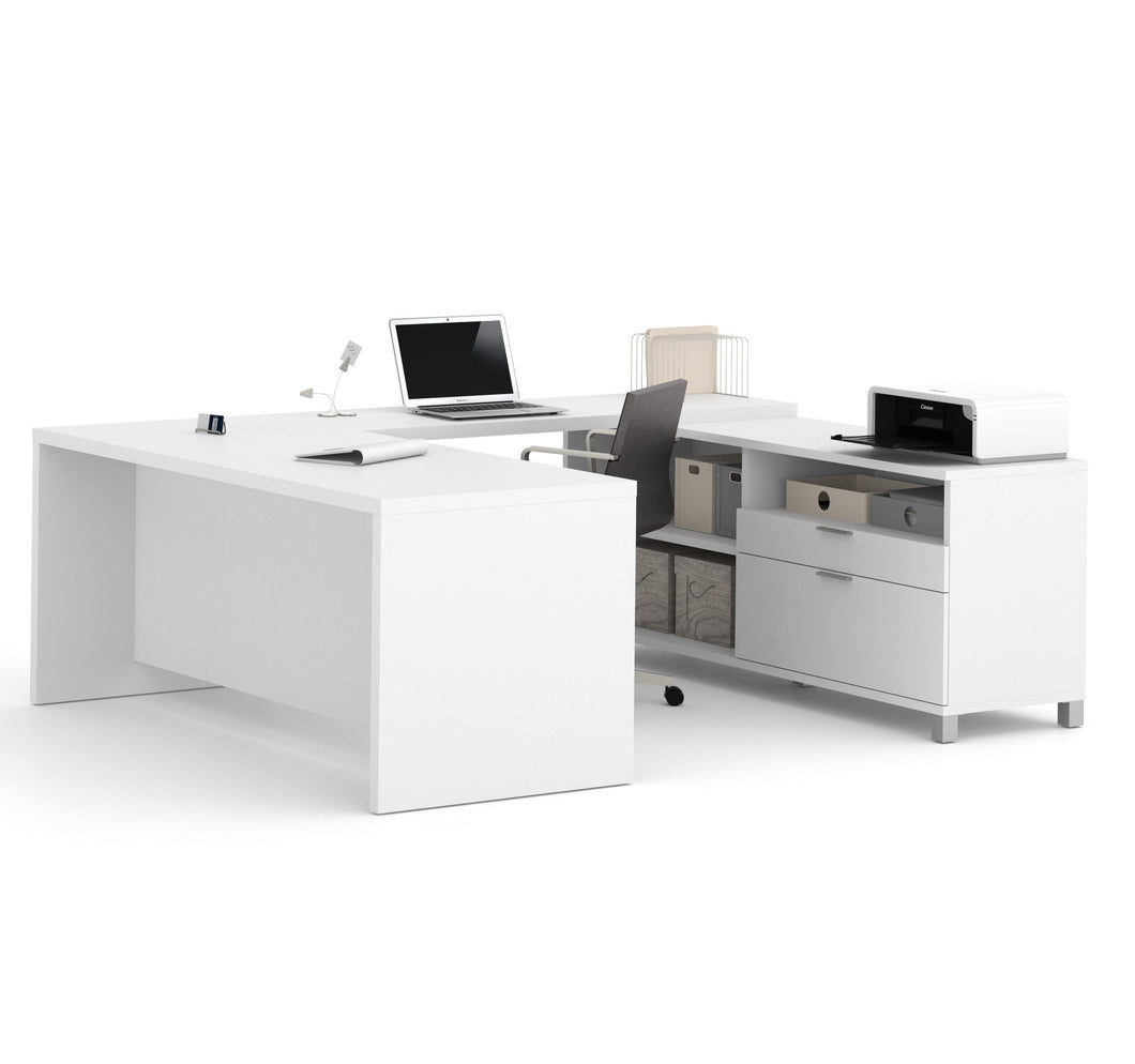 Premium Modern U-shaped Desk in White