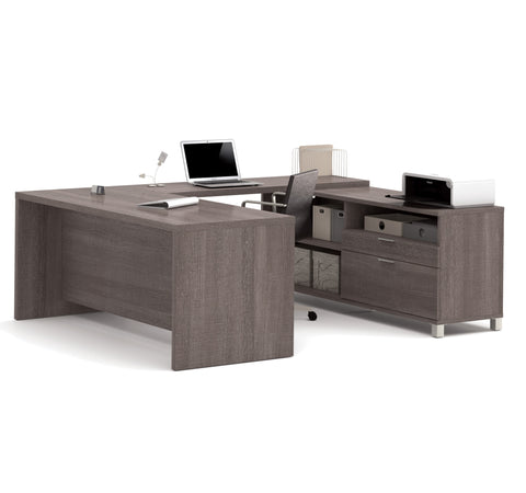 Premium Modern U-shaped Desk in Bark Gray