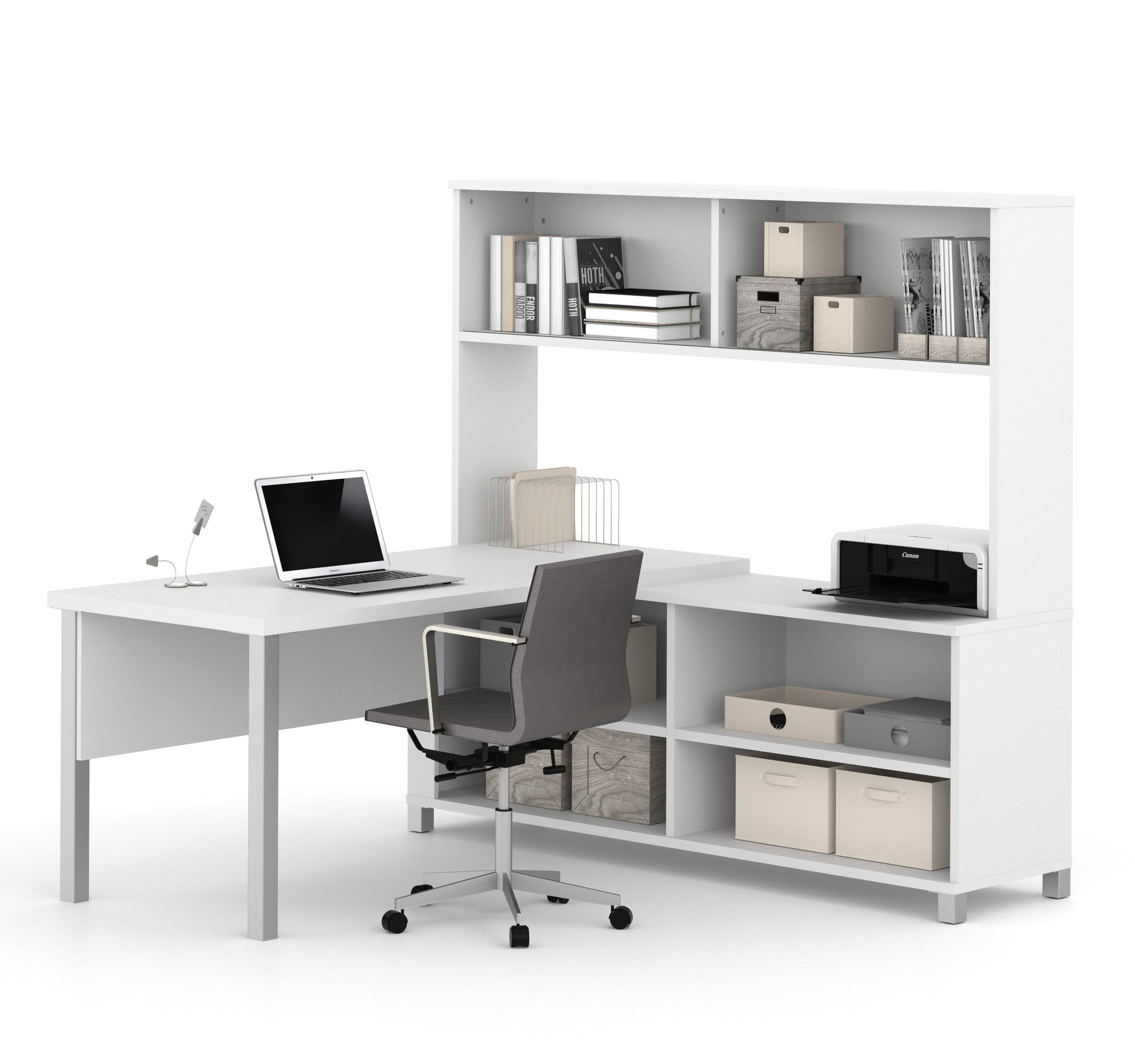 Modern Office Desk: Premium Modern L-shaped Desk With Hutch In White