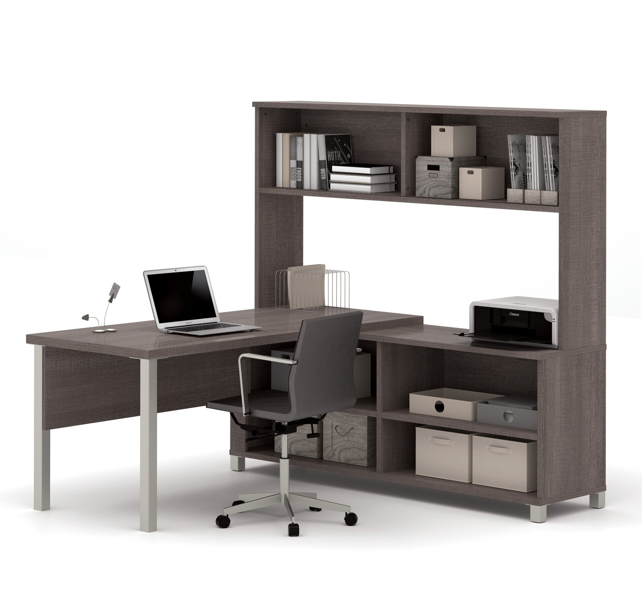 Premium Modern L-shaped Desk with Hutch in Bark Gray