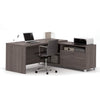 Premium Modern L-shaped Desk in Bark Gray