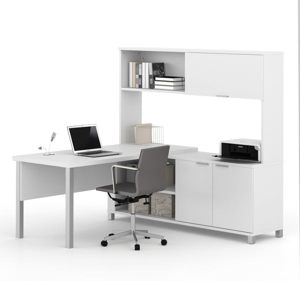 Premium modern l shaped desk with hutch in white White l shaped desk