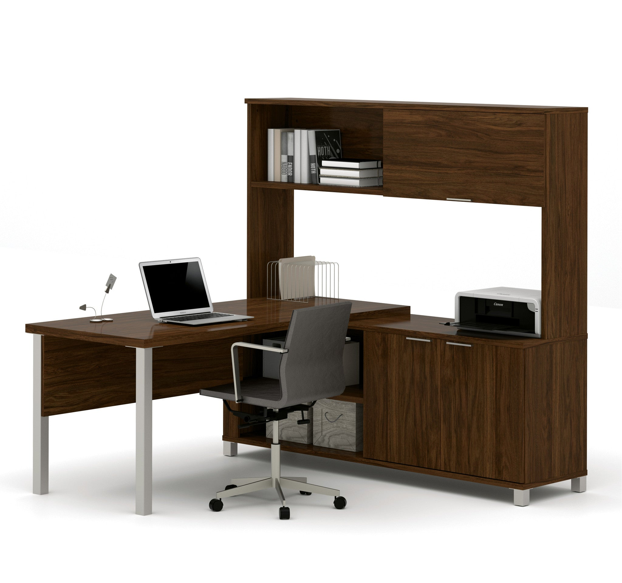 Premium Modern L Shaped Desk With Hutch In Oak Barrel