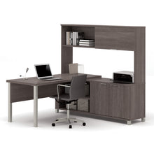Load image into Gallery viewer, Premium Modern L-shaped Desk with Hutch in Bark Gray