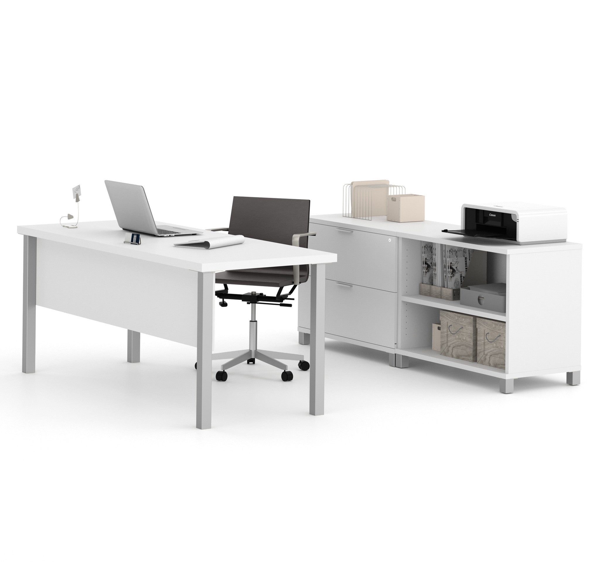"""71"""" Modern Executive Desk with Lateral File & Bookcase in"""