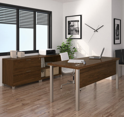 "71"" Modern Executive Desk with Lateral File & Bookcase in Oak Barrel"
