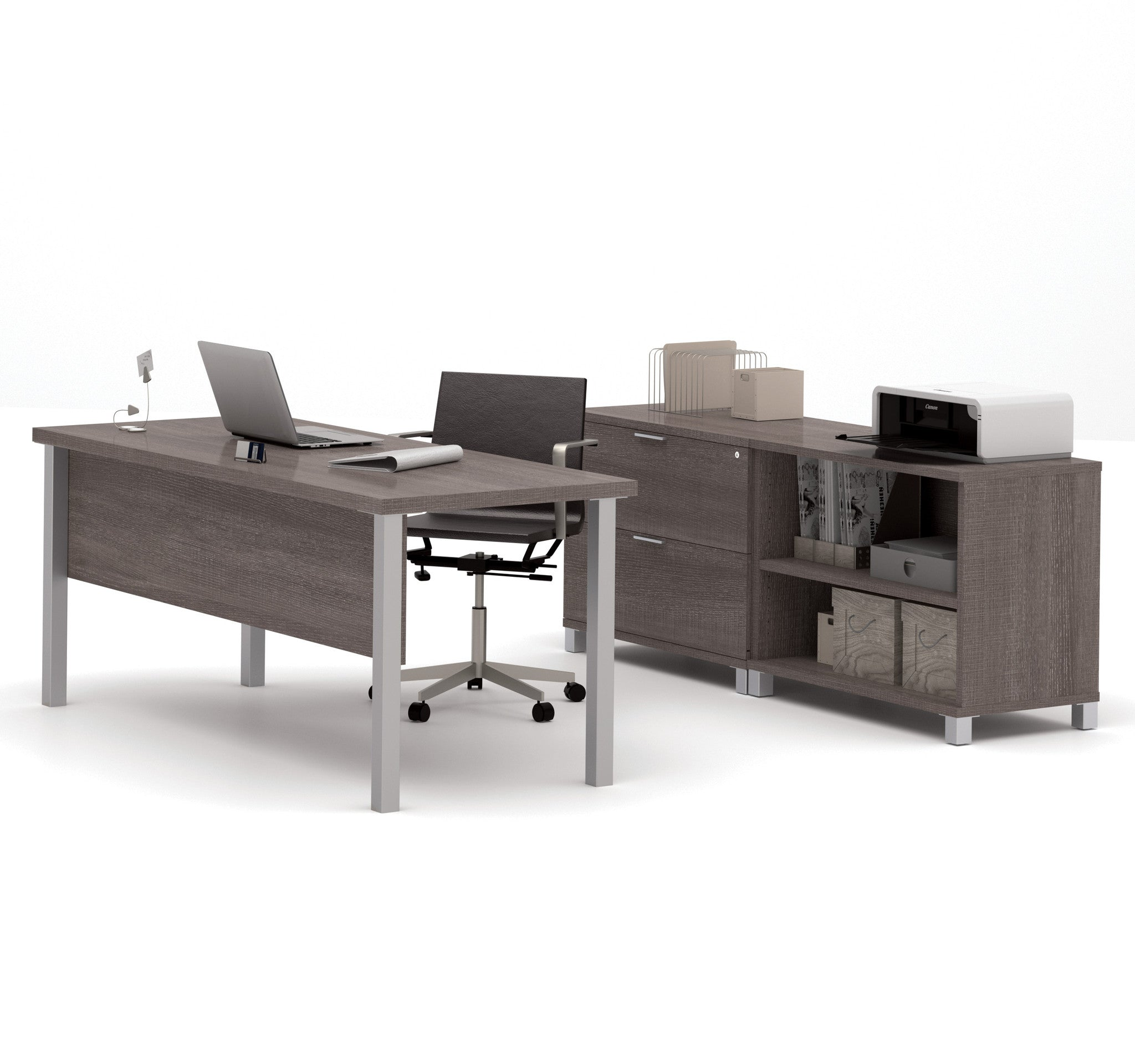 "71"" Modern Executive Desk with Lateral File & Bookcase in Bark Gray"